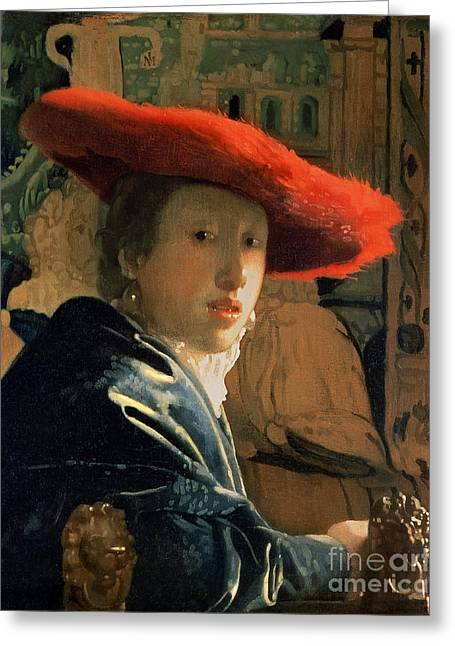 Female Portrait Greeting Cards - Girl with a Red Hat Greeting Card by Jan Vermeer
