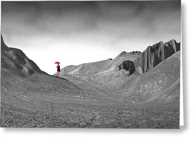 Landscape With Mountains Greeting Cards - Girl with a Red Umbrella 1 Greeting Card by Mike McGlothlen