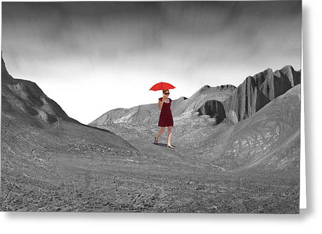 Landscape With Mountains Greeting Cards - Girl with a Red Umbrella 2 Greeting Card by Mike McGlothlen