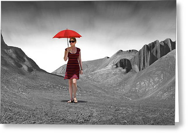 Landscape With Mountains Greeting Cards - Girl with a Red Umbrella 3 Greeting Card by Mike McGlothlen