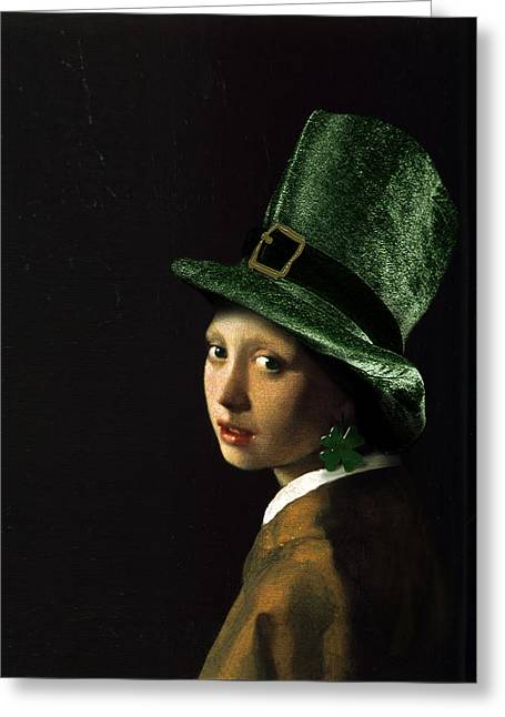 Green Hat Art Greeting Cards - Girl with a Shamrock Earring Greeting Card by Gravityx9   Designs