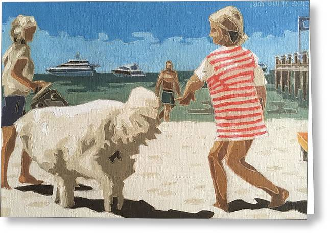 Girl With A White Dog Greeting Card by Varvara Stylidou
