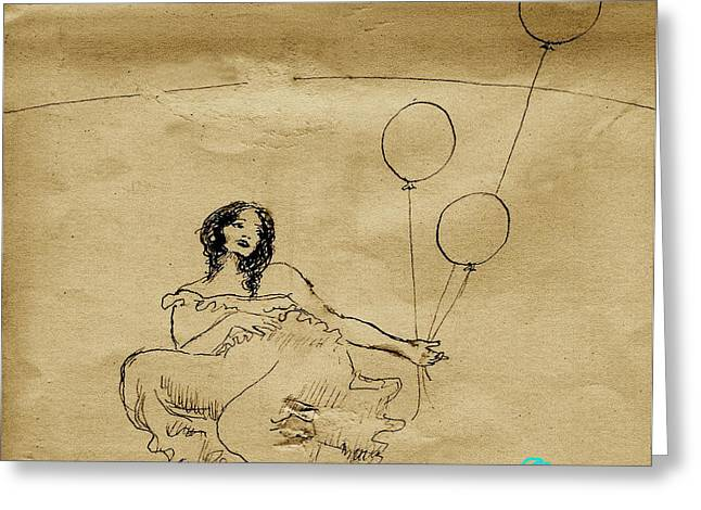 Girl With Balloons In Storm Greeting Card by Ocean