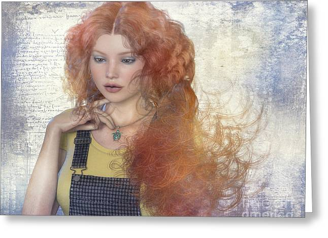 Overalls Digital Greeting Cards - Girl with Beautiful Hair Greeting Card by Jutta Maria Pusl
