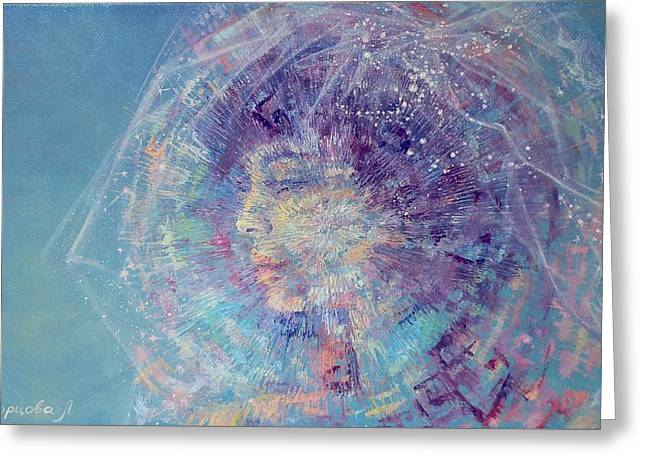 Covered Head Paintings Greeting Cards - Girl with blue hair Greeting Card by Liudmyla Skvortsova