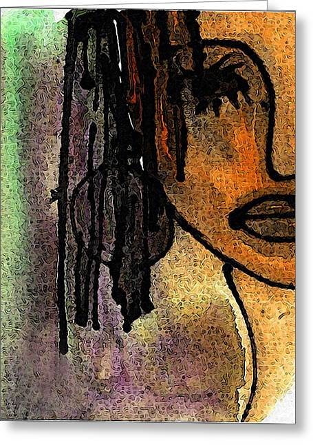 African-americans Greeting Cards - Girl With Braids Greeting Card by Wendel Johnston