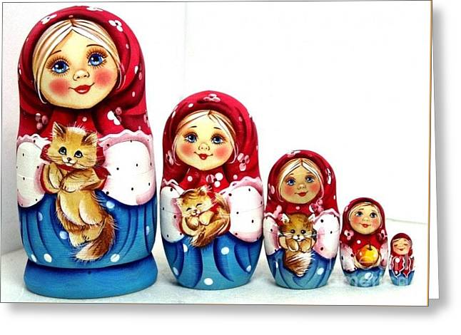Christmas Art Sculptures Greeting Cards - Girl With Cat Greeting Card by Viktoriya Sirris
