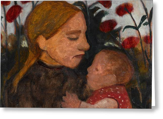 Girl With Child Greeting Card by Paula Modersohn-Becker