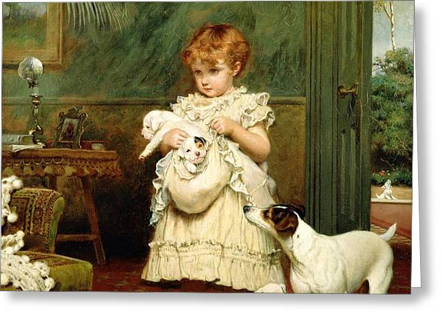 Girl with Dogs Greeting Card by Charles Burton Barber