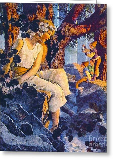 Girl With Elves 1918 Greeting Card by Padre Art