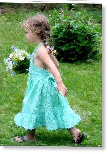 Girl With Flowers Greeting Card by Diane Merkle