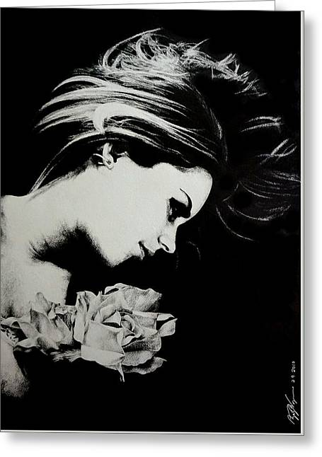 Ear-ring Drawings Greeting Cards - Girl With Flowers Greeting Card by Zachary Wagner