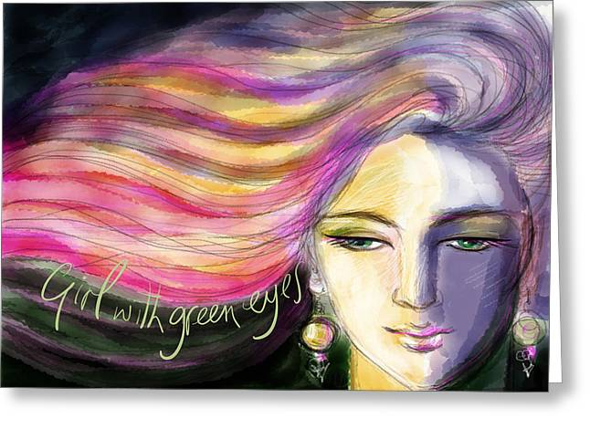 Pensive Greeting Cards - Girl with green eyes Greeting Card by Phyllis Mahon