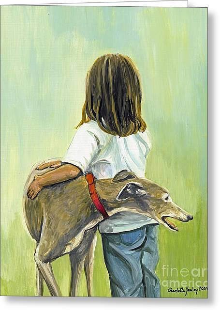 Greyhound Dog Greeting Cards - Girl with Greyhound Greeting Card by Charlotte Yealey
