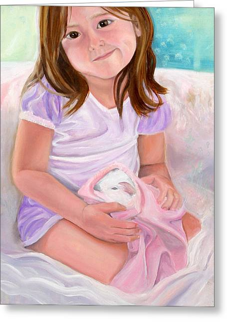 Anne Cameron Cutri Greeting Cards - Girl with Guinea Pig Greeting Card by Anne Cameron Cutri