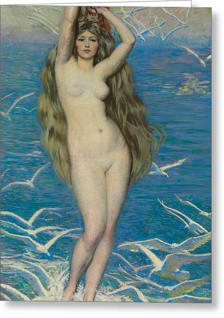 Seagull Flying Greeting Cards - Girl with Gulls Greeting Card by Philip Leslie Hale