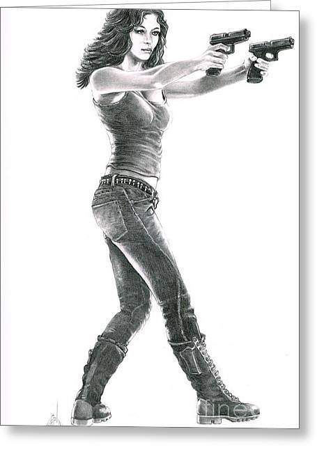 Boots Drawings Greeting Cards - Girl with Guns Greeting Card by Murphy Elliott