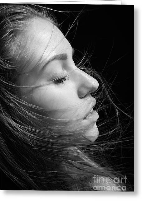 Arouse Greeting Cards - Girl With Hair Greeting Card by Aleksey Tugolukov