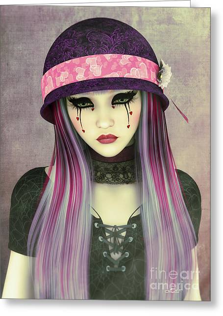 Woman With Long Hair Greeting Cards - Girl with Hat Greeting Card by Jutta Maria Pusl