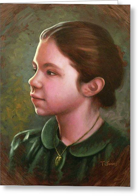 Locket Greeting Cards - Girl with Locket Greeting Card by Timothy Jones