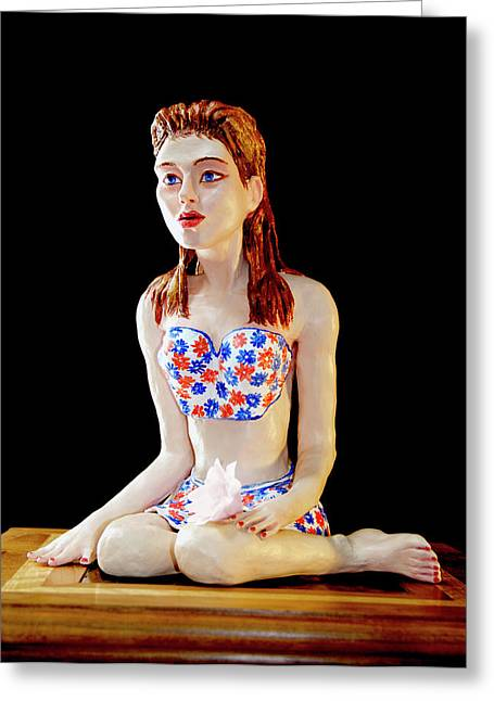 Pieces Sculptures Greeting Cards - Girl with lotus 1 Greeting Card by Yelena Rubin