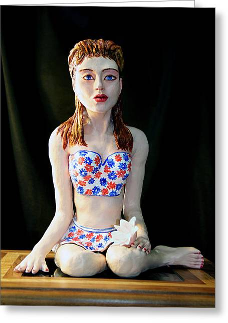 Pieces Sculptures Greeting Cards - Girl with lotus 2 Greeting Card by Yelena Rubin