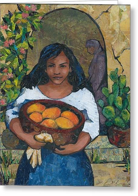Mango Mixed Media Greeting Cards - Girl with Mangoes Greeting Card by Barbara Nye