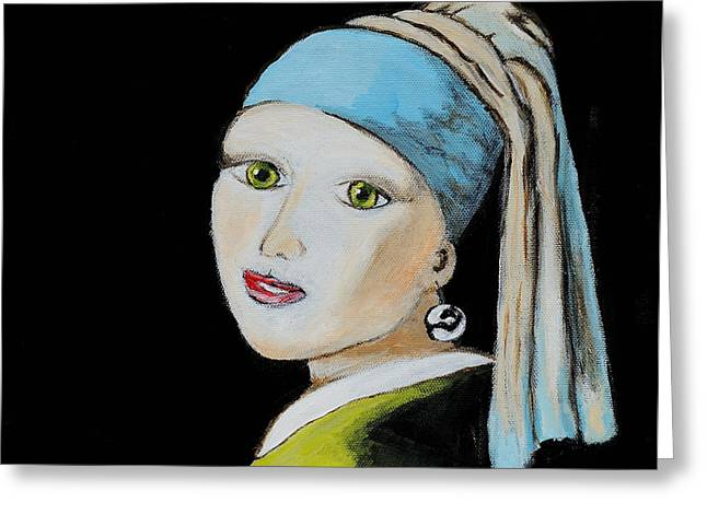 Girl With A Pearl Earring Greeting Cards - Girl with Pearl Earring Greeting Card by Art by Danielle