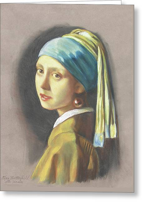 Girl With Pearl Earring By Vermeer Greeting Card by Kean Butterfield