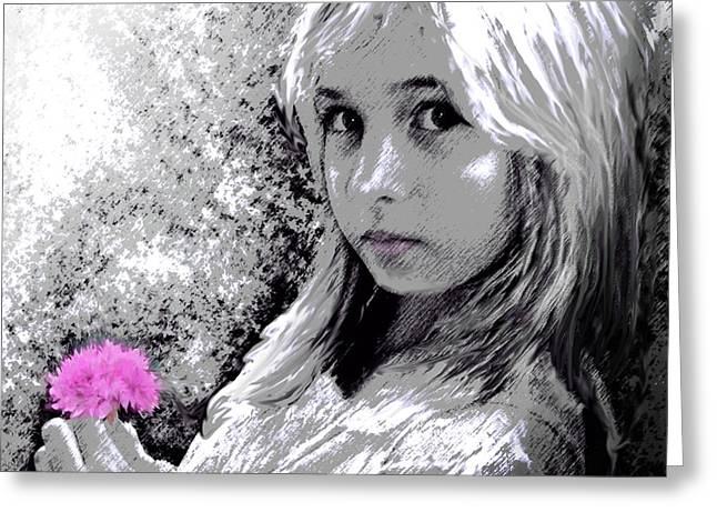 Portrait With Flowers Greeting Cards - Girl With Pink Flower Greeting Card by Jane Schnetlage