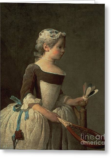 Pincushion Greeting Cards - Girl with Racket and Shuttlecock Greeting Card by Jean-Baptiste Simeon Chardin