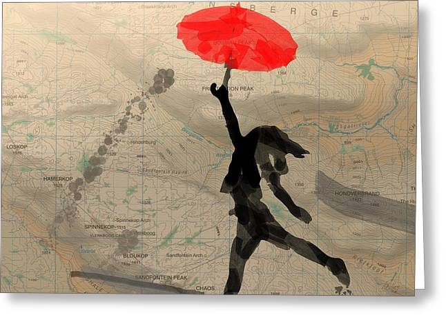 Intrigue Greeting Cards - Girl with Red Umbrella Greeting Card by Andre Pillay