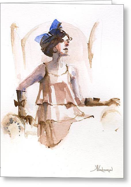 Girl With The Blue Ribbon Greeting Card by Kristina Vardazaryan