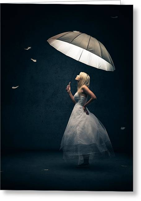 Buy Greeting Cards - Girl with umbrella and falling feathers Greeting Card by Johan Swanepoel