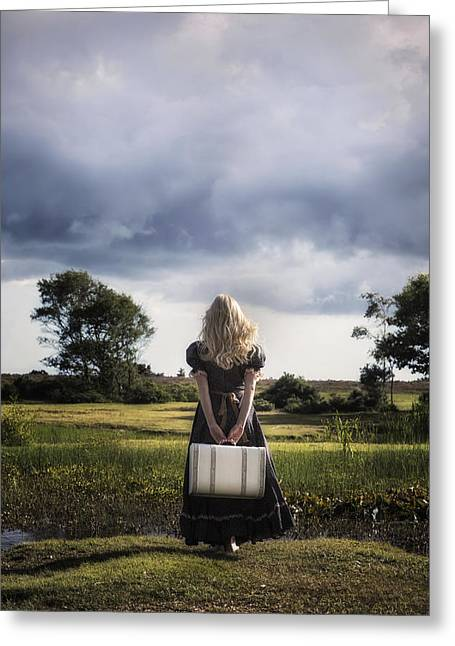 Girl With White Suitcase Greeting Card by Joana Kruse