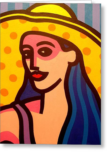 Beauty Greeting Cards - Girl With Yellow Hat Greeting Card by John  Nolan