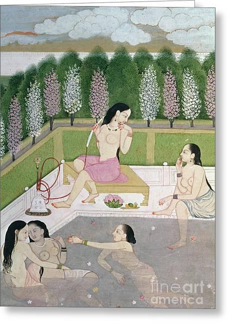 Girls Bathing Greeting Card by Indian School