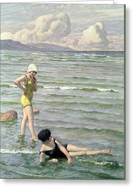 Swimmers Greeting Cards - Girls Bathing Greeting Card by Paul Fischer