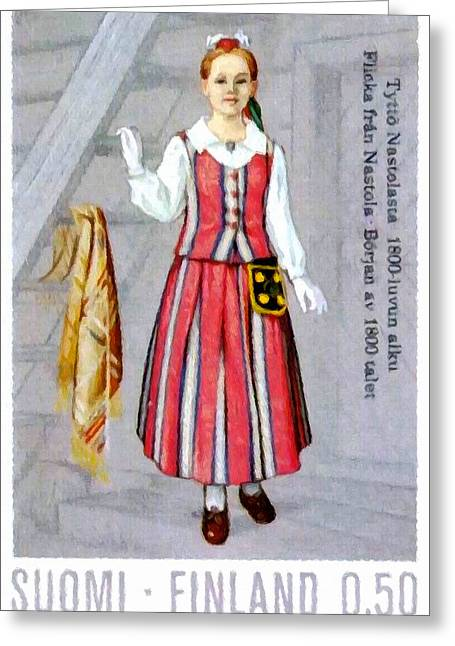 Girls Costume From Nastola Greeting Card by Lanjee Chee