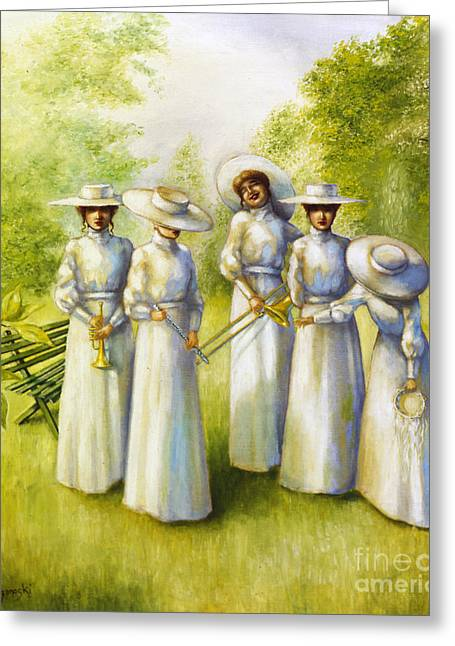 Girl In Dress Greeting Cards - Girls in the Band Greeting Card by Jane Whiting Chrzanoska