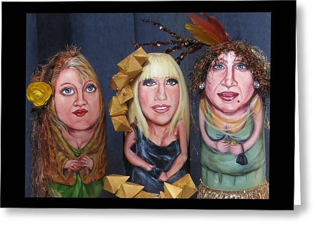 Drag Mixed Media Greeting Cards - Girls Night Out Greeting Card by Cathi Doherty