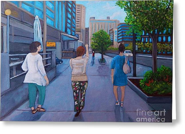 Montreal Life Greeting Cards - Girls Night Out Greeting Card by Reb Frost