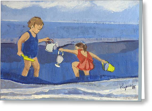 Sprinkling Can Greeting Cards - Girls on Beach Greeting Card by Betty Pieper