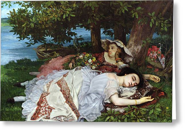 Reverie Paintings Greeting Cards - Girls on the Banks of the Seine Greeting Card by Gustave Courbet