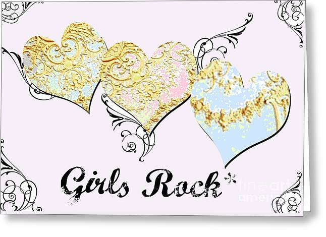 Shower Curtain Greeting Cards - Girls Rock Hearts in Pink and Purple and blue Greeting Card by Anahi DeCanio - ArtyZen Studios
