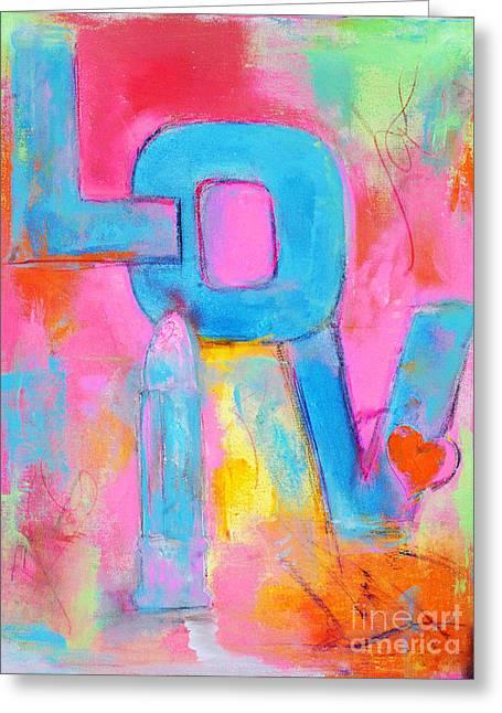 Pink Lipstick Greeting Cards - Girls Rule Pop Art Love Greeting Card by ArtyZen Studios - ArtyZen Home