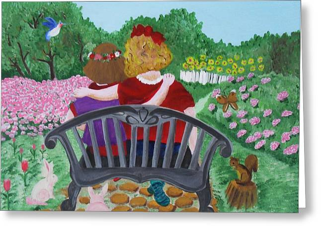 Acrylic Art Greeting Cards - Girls sitting Greeting Card by Jose Valeriano
