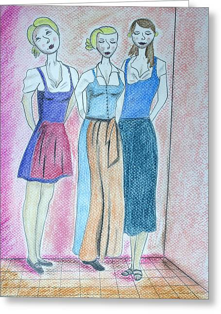 Pastel Portrait Greeting Cards - Girls Standing Greeting Card by Jose Valeriano