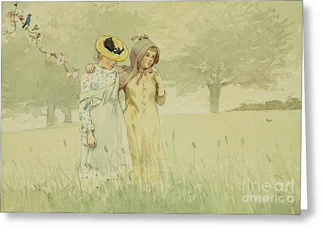 On Paper Paintings Greeting Cards - Girls strolling in an Orchard Greeting Card by Winslow Homer