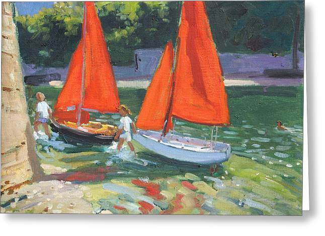 Sailing Boat Greeting Cards - Girls with sail boats Looe Greeting Card by Andrew Macara
